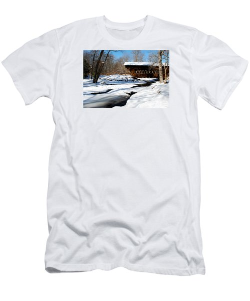 Men's T-Shirt (Slim Fit) featuring the photograph The River Flows Under The Springwater Covered Bridge by Janice Adomeit