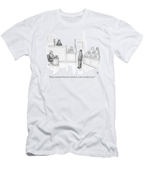 The Scene Is A Courtroom. A Lawyer Is Looking Men's T-Shirt (Athletic Fit)
