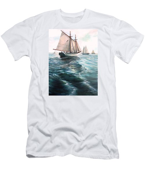 The Schooners Men's T-Shirt (Slim Fit) by Eileen Patten Oliver