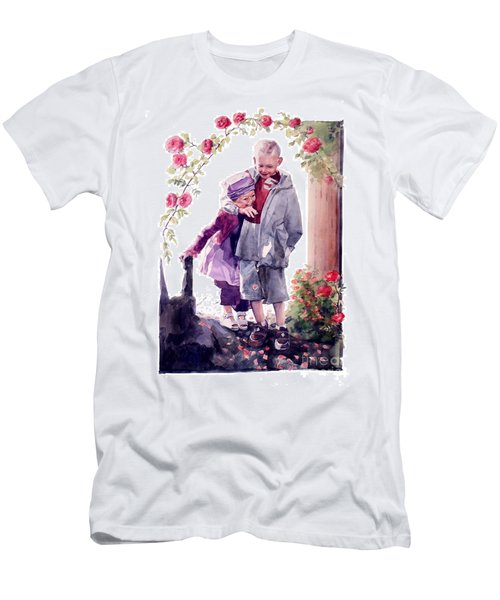 Watercolor Of A Boy And Girl In Their Secret Garden Men's T-Shirt (Athletic Fit)