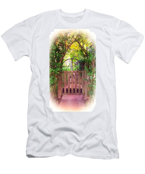 The Secret Gardens Gate Men's T-Shirt (Slim Fit) by Becky Lupe