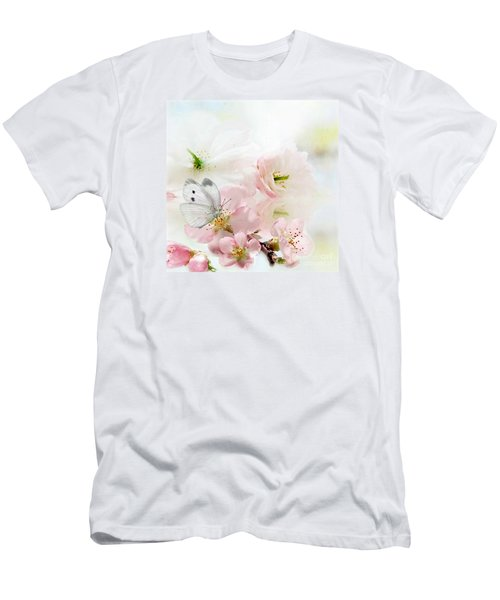 Men's T-Shirt (Slim Fit) featuring the mixed media The Silent World Of A Butterfly by Morag Bates
