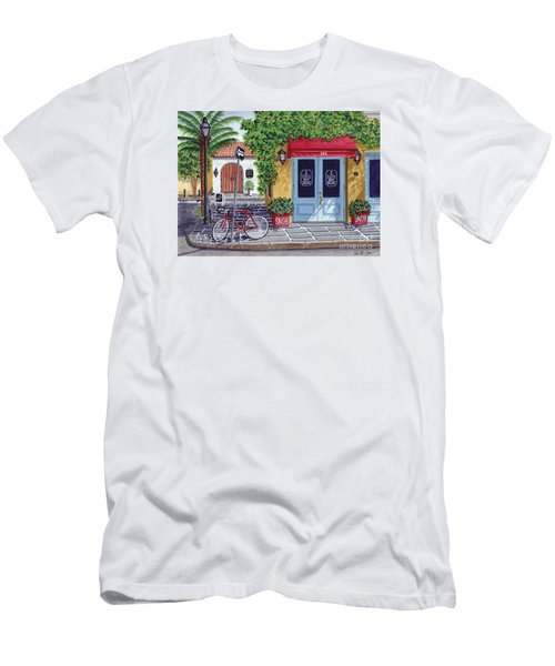 Men's T-Shirt (Slim Fit) featuring the painting The Snob Restaurant by Val Miller