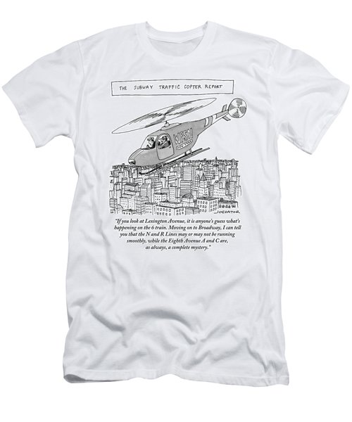 The Subway Traffic Copter Report Features Men's T-Shirt (Athletic Fit)