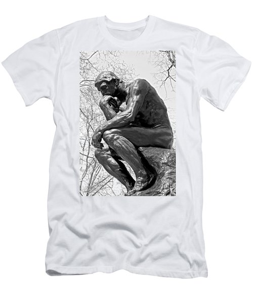 The Thinker In Black And White Men's T-Shirt (Athletic Fit)