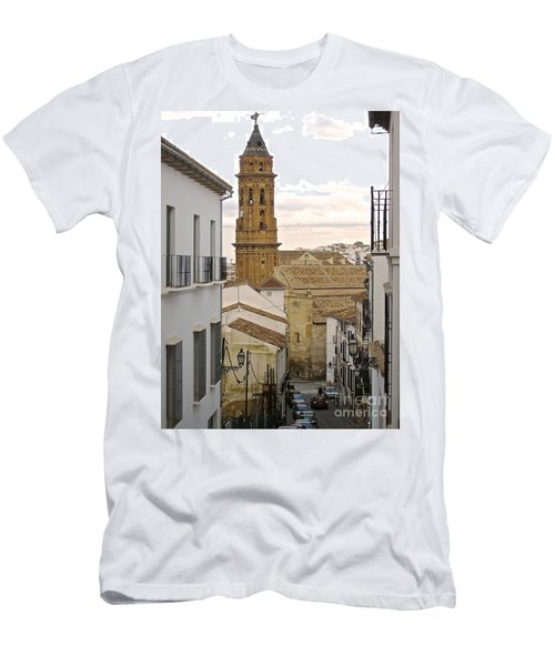 Men's T-Shirt (Slim Fit) featuring the photograph The Town Tower by Suzanne Oesterling