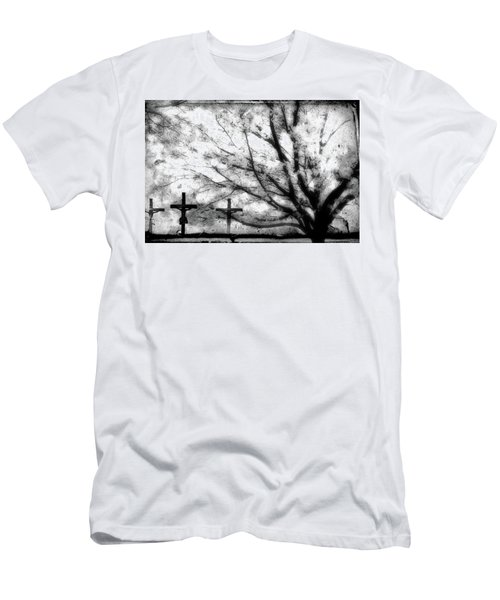 Men's T-Shirt (Slim Fit) featuring the painting The Veil Was Torn by Gray  Artus