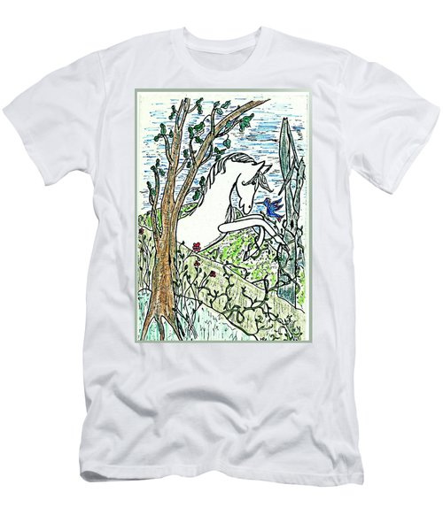 The White Stallion Is Chatting With His Friends Men's T-Shirt (Athletic Fit)