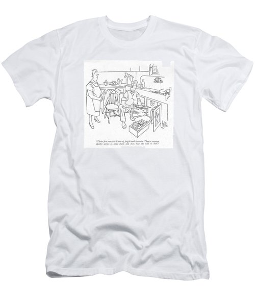 Their ?rst Reaction Is One Of Fright Men's T-Shirt (Slim Fit) by George Price