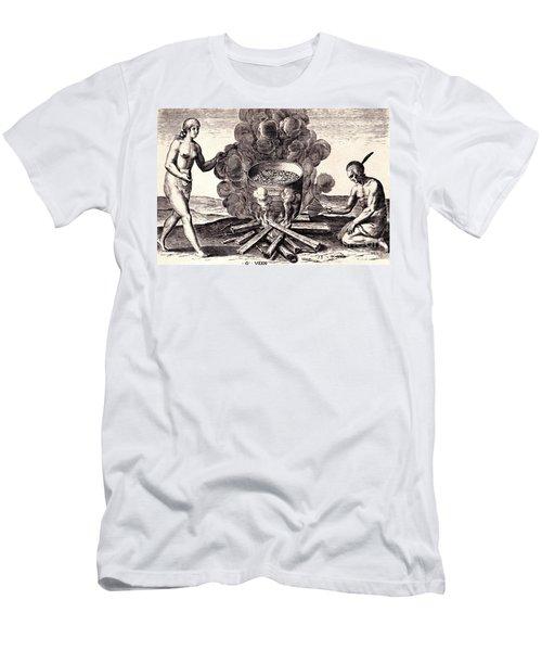 Their Seetheynge Of Their Meate In Earthen Pottes Men's T-Shirt (Slim Fit) by Peter Gumaer Ogden