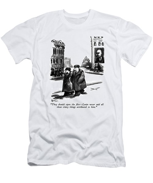 They Should Open The Files - Lenin Never Said All Men's T-Shirt (Athletic Fit)