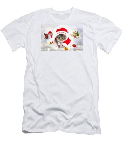 Three Christmas Kittens Men's T-Shirt (Slim Fit) by Chris Armytage