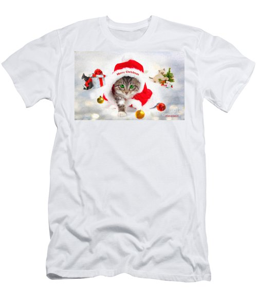 Three Christmas Kittens Men's T-Shirt (Athletic Fit)