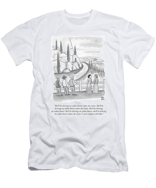 Three Frontiersmen And Two Women Watch A Mountain Men's T-Shirt (Athletic Fit)