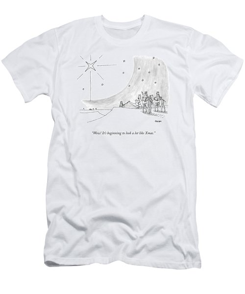 Three Men On Camels Look At The Night Sky.  One Men's T-Shirt (Athletic Fit)