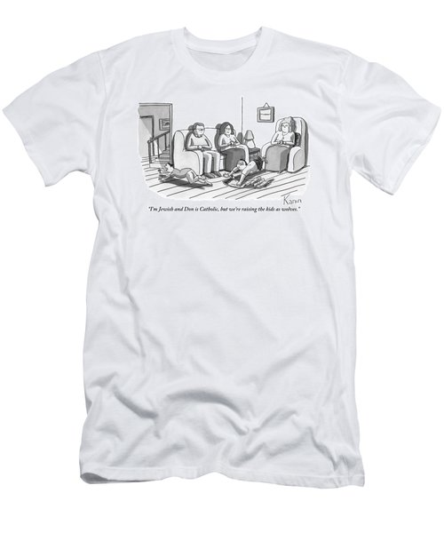 Three People Are Sitting In A Living Room Men's T-Shirt (Athletic Fit)
