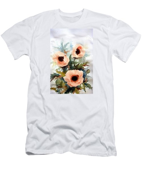 Men's T-Shirt (Slim Fit) featuring the painting Three Poppies by William Renzulli