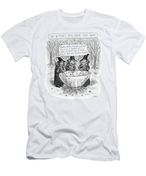 Three Witches Stir A Large Wok Men's T-Shirt (Athletic Fit)