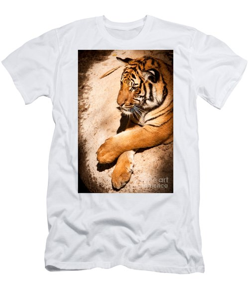 Men's T-Shirt (Athletic Fit) featuring the photograph Tiger Resting by John Wadleigh