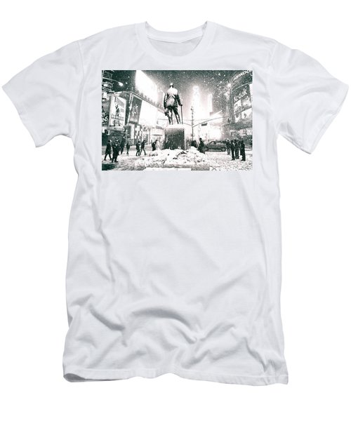 Times Square In The Snow - New York City Men's T-Shirt (Athletic Fit)