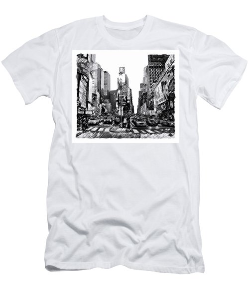 Times Square   New York City Men's T-Shirt (Slim Fit) by Iconic Images Art Gallery David Pucciarelli