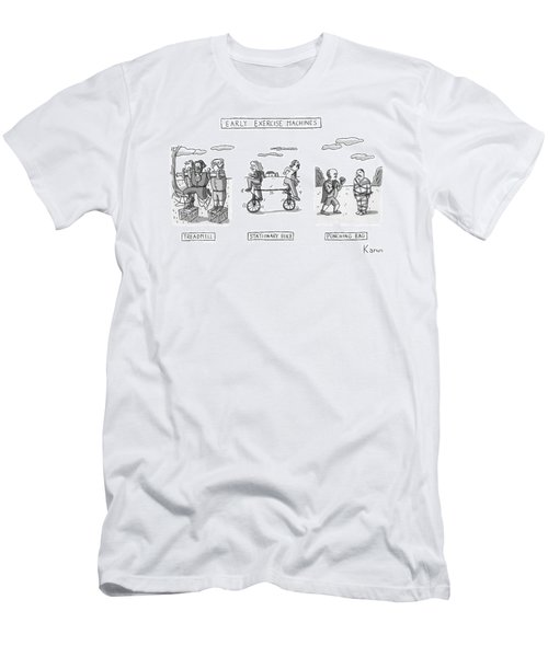 Title: Early Exercise Machines. Three Early Men's T-Shirt (Athletic Fit)