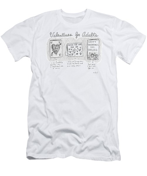 Title Valentines For Adults. Three Valentine's Men's T-Shirt (Athletic Fit)