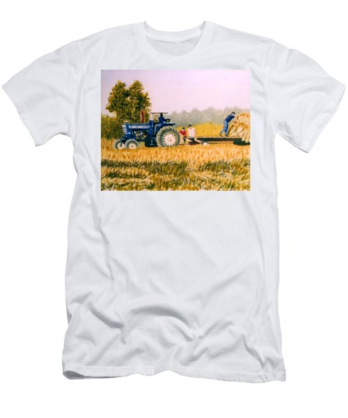 Men's T-Shirt (Slim Fit) featuring the painting Tobacco Farmers by Stacy C Bottoms