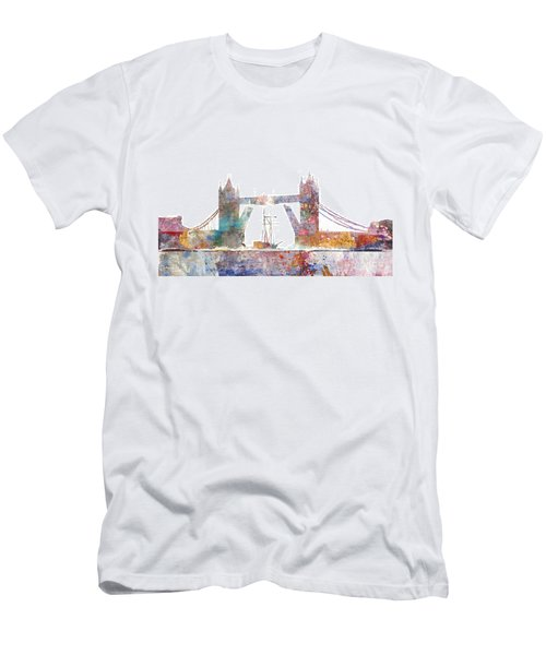 Tower Bridge Colorsplash Men's T-Shirt (Slim Fit) by Aimee Stewart