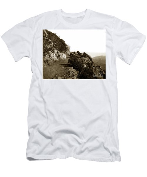 Men's T-Shirt (Slim Fit) featuring the photograph Trail On Mt. Tamalpais Marin Co California Circa 1902  by California Views Mr Pat Hathaway Archives