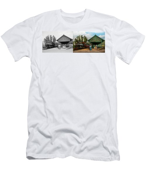 Train - Haines Corners - Catskill Mountains - Ny - Waiting For Departure - 1901 - Side By Side Men's T-Shirt (Athletic Fit)