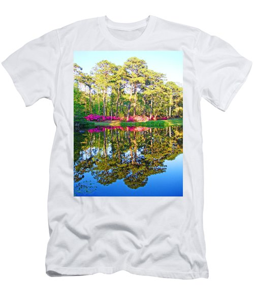 Tree Reflections And Pink Flowers By The Blue Water By Jan Marvin Studios Men's T-Shirt (Athletic Fit)