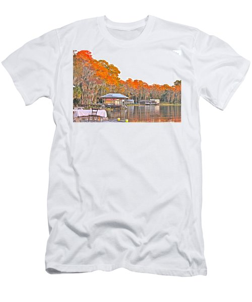 Men's T-Shirt (Slim Fit) featuring the photograph Trees By The Lake by Lorna Maza