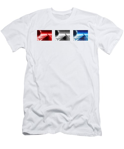 Men's T-Shirt (Slim Fit) featuring the photograph Red White Black An White Blue An White Jet Pop Art Planes. by R Muirhead Art
