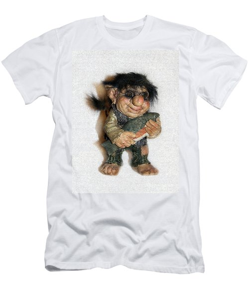 Men's T-Shirt (Slim Fit) featuring the sculpture Troll Fisherman by Sergey Lukashin