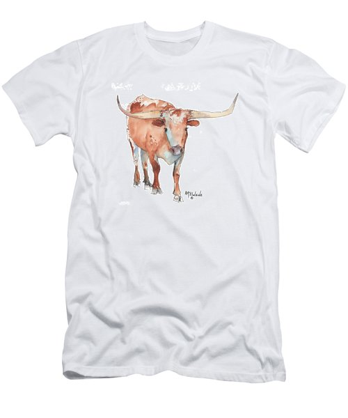 Square Walking Tall Texas Longhorn Watercolor Painting By Kmcelwaine Men's T-Shirt (Slim Fit) by Kathleen McElwaine