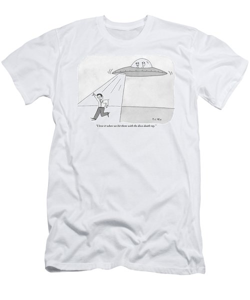 Two Aliens In A Flying Saucer Hit A Man Men's T-Shirt (Athletic Fit)