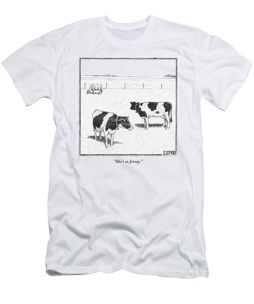 Two Spotted Cows Looking At A Jersey Cow Men's T-Shirt (Athletic Fit)