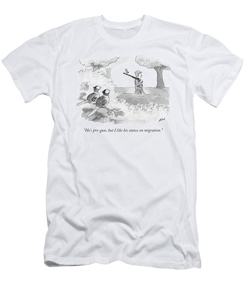 Two Birds Look At Another Bird That Is Perched Men's T-Shirt (Athletic Fit)