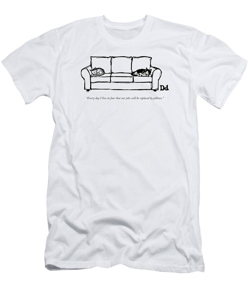 Two Cats Curl Up At Each End Of A Sofa Men's T-Shirt (Athletic Fit)