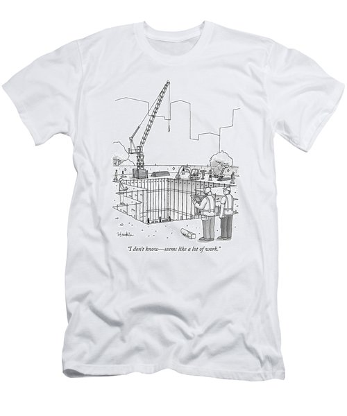 Two Construction Workers Look Out Over A Massive Men's T-Shirt (Athletic Fit)