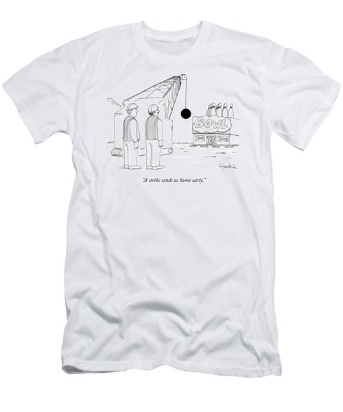 Two Construction Workers Watch As A Wrecking Ball Men's T-Shirt (Athletic Fit)