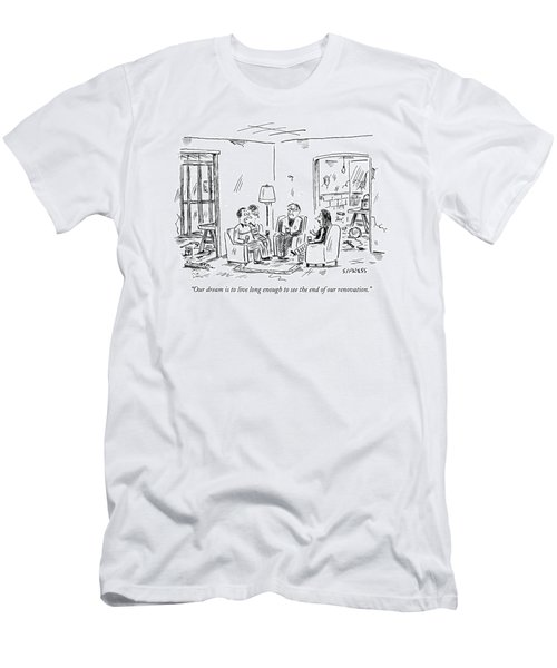Two Couples Sitting In The Middle Of A House Men's T-Shirt (Athletic Fit)