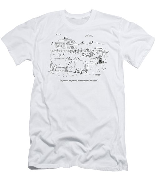 Two Cows On A Farm Talking Men's T-Shirt (Athletic Fit)