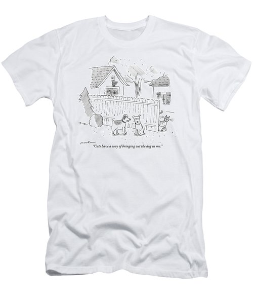 Two Dogs Are Speaking With A Cat Walking Near By Men's T-Shirt (Athletic Fit)