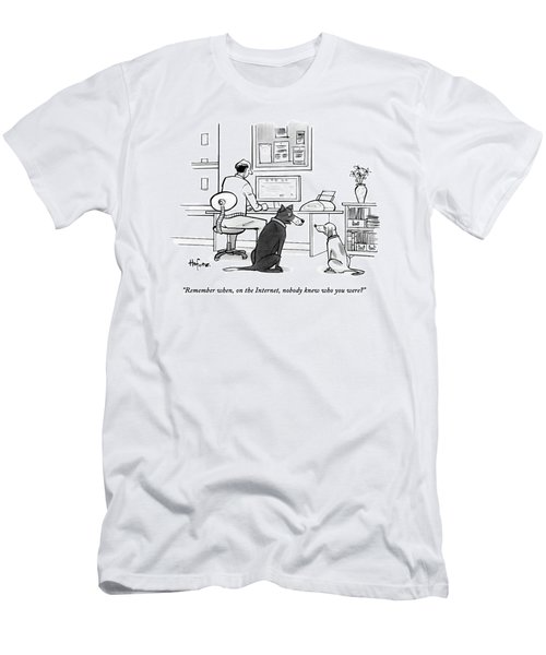 Two Dogs Speak As Their Owner Uses The Computer - Men's T-Shirt (Athletic Fit)