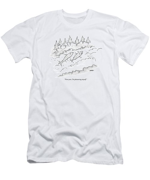 Two Fish Are Talking As They Swim Upstream Men's T-Shirt (Athletic Fit)