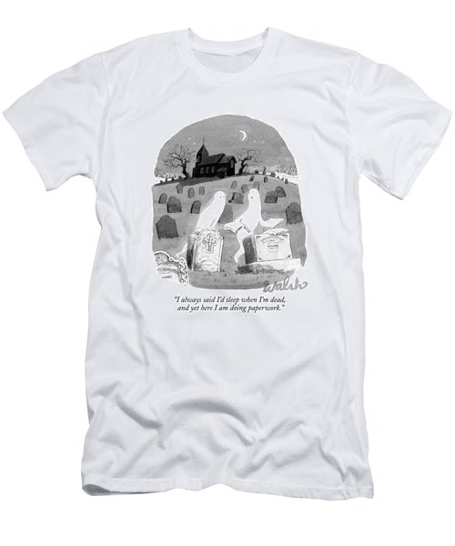 Two Ghosts Talk In A Graveyard.  One Is Holding Men's T-Shirt (Athletic Fit)