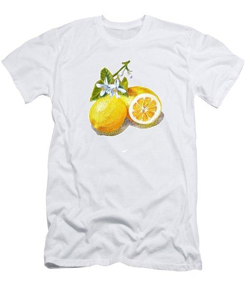 Men's T-Shirt (Slim Fit) featuring the painting Two Happy Lemons by Irina Sztukowski