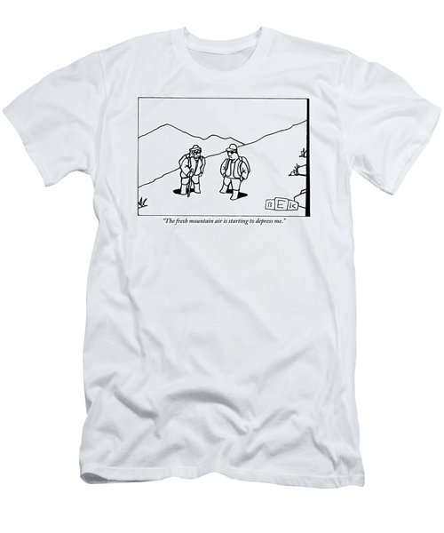 Two Hikers Are Talking To Each Other Outdoors Men's T-Shirt (Athletic Fit)